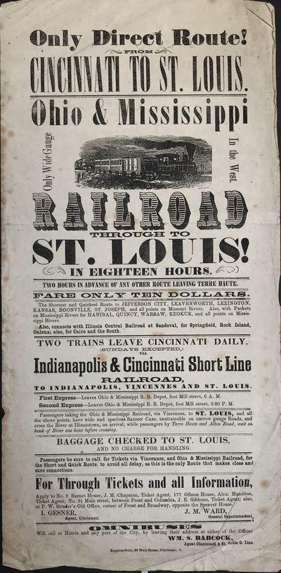 Cincinnati: Enquirer Print, 1858. Good.. Broadside, approximately 14.5 x 7 inches. Matted. Internal ...
