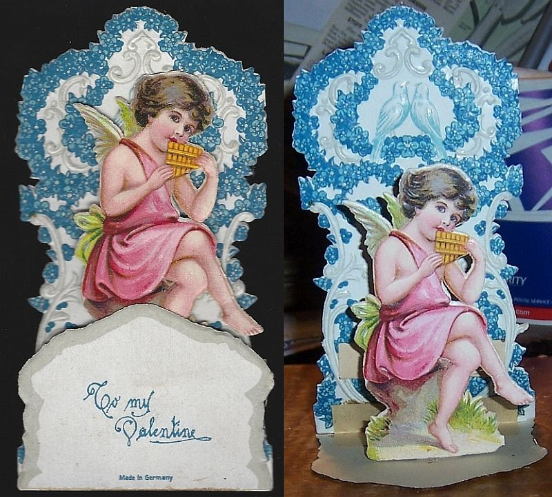VICTORIAN FOLD OUT VALENTINE WITH LITTLE BOY PLAYING THE PAN FLUTE, Valentine