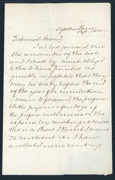 Upton, 1830. Fry, Elizabeth (1780-1845). Two autograph letters signed to Richard Taylor (1781-1858),...