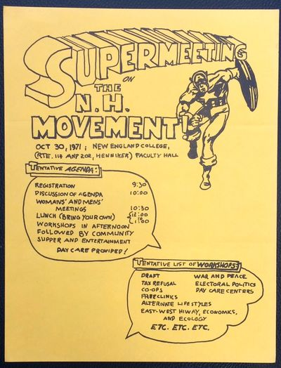 : n.pub, 1971. 8.5x11 inch handbill, very good. Lists agenda items for the conference, including the...