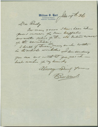 Horseshoe Ranch, Newhall, Ca, 1936. One-half page, quarto, on Hart's letterhead. Folded for mailing,...