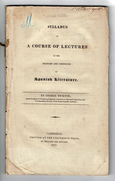 Cambridge, Mass: at the University Press, by Hilliard and Metcalf, 1823. First edition, 8vo, pp. iv,...