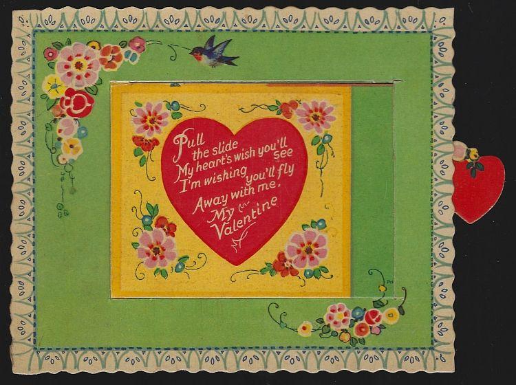 VINTAGE VALENTINE WITH SLIDING DOOR, Valentine
