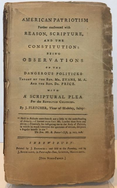 Shrewsbury, (England): Printed by J. Eddowes, and sold by J. Buckland, London, 1776. First edition 1...