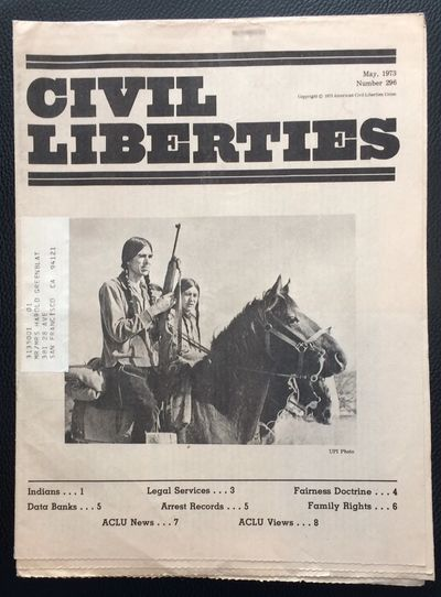 New York: American Civil LIberties Union, 1973. 8p., single of the newsletter in tabloid newspaper f...