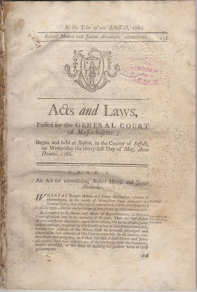 Boston: Printed by Adams and Nourse, 1786. First edition. Disbound. Removed from a larger volume els...