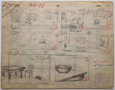 1937. unbound. Exceedingly rare complete set of storyboards for the classic 1937 Betty Boop cartoon ...
