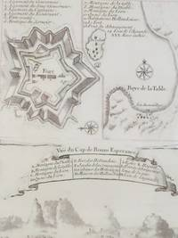 1747 Plan from Prevost's 'Histoire Generale des Voyages', Three Views: Birds'-Eye Plan; Birds'-Eye Map of Fort along 'Baye de la Table'; Vue du Cap de Bonne Esperance