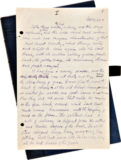 , 1923. 71,17pp. written in purple ink on the rectos of ruled paper, 8 1/2 x 5 1/2 inches (last doze...