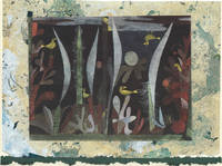 image of Landscape with Yellow Birds full image and detail on one-of-a-kind hand marbled paper compositions presented on a blank note cards.