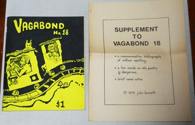 Ellensburg: Vagabond, 1974. First edition. Paperback. Very Good. Wide stapled illustrated wrappers. ...