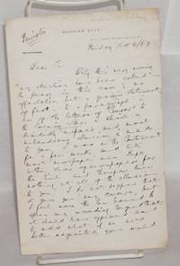 [Holograph signed letter to (William) Hepworth Dixon apologizing for a negative mention in McCarthy's newspaper, the Morning Star]