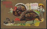 THANKSGIVING GREETINGS POSTCARD WITH BOY AND TURKEYS by Postcard - 1910 - from Gibson's Books (SKU: 80811)