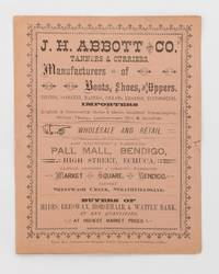 J.H. Abbott and Co. Tanners & Curriers, Manufacturers of Boots, Shoes, and Uppers, Belting, Saddlery, Harness, Collars, Leggings, Neatsfoot Oil. Importers .. by [Trade Catalogue] - Paperback - First Edition - 1880 - from Michael Treloar Antiquarian Booksellers (SKU: 118360)