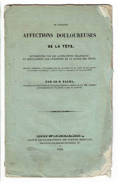 Bruxelles: Société encyclographique des sciences médicales, 1844. First edition, 8vo, pp. 2...