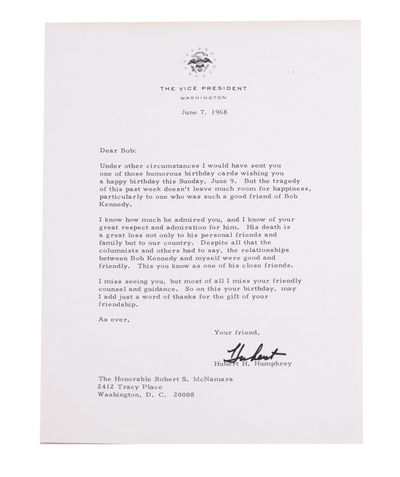 Washington, D.C., 1974. Variously signed Hubert, Hubert H. or in full, as Senator or Vice President....