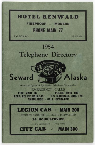Seward, 1954. Near fine.. 32pp. Original green printed wrappers, stapled. An ephemeral telephone dir...