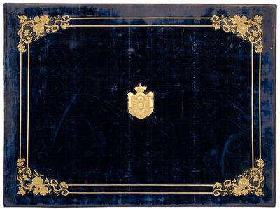 A blue velvet covered and parcel-gilt...