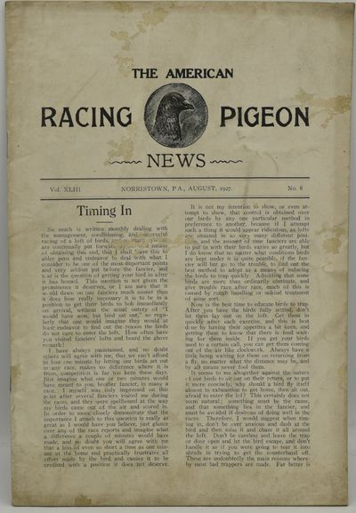 Norristown, PA, 1927. Stapled Pamphlet. Good binding. The August 1927 issue of The American Racing P...