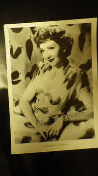 B/W Studio SIGNED Photograph Hollywood Actress, Claudette Colbert Smiling  in Dress with Falling Leaves Pattern on it, She is Smiling with Short Hairdo