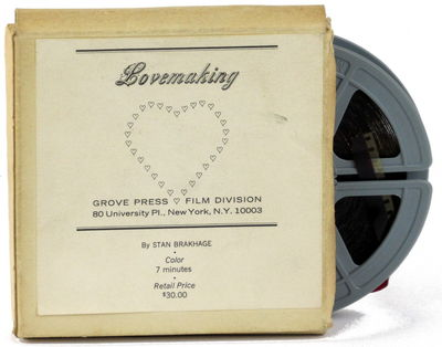 NY: Grove Press, . Original 3.5 inch reel of 8mm film in plain cardboard box with paper label affixe...