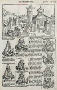 Liber chronicarum- Nuremberg Chronicle, an individual page from the Chronicle featuring King Solomon's Temple, and the City of Perugia, Plate No. XLVIII