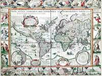 Nova Totius Terrarum Orbis Geographica Ac Hydrographica Tabula. a Pet: Kaerio( 4th State) by van den Keere, Pieter  (1571-ca.1646), copied after Blaeu, Willem  (1571-1638) - 1637