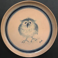 Baby Owl (unique ceramic plate with drawing)