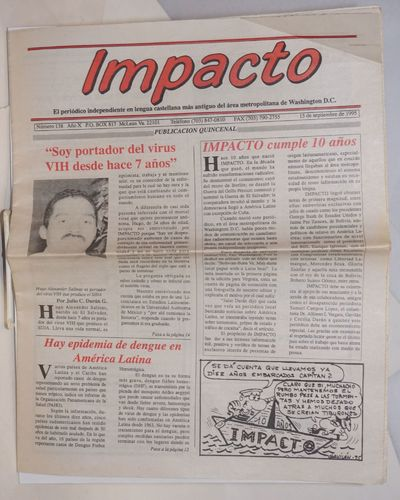 Washington DC: Impacto, 1995. Newspaper. 20p. folded tabloid newspaper, text in Spanish, articles, o...