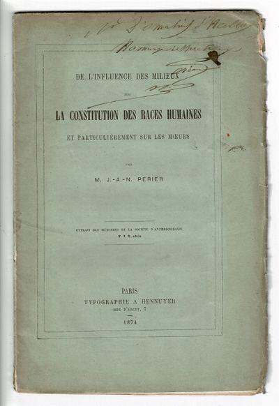 Paris: typographie a Hennuyer, 1874. First separate edition, 8vo, pp. , 50, ; original printed green...