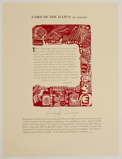 Minneapolis, MN: Minnesota Center for Book Arts, 1989. First edition. Broadside that measures 10