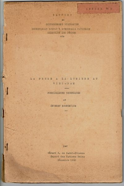 , 1960. Folio, , 32, leaves, printed from typescript on recots only; 4 folding blueprints of fishing...