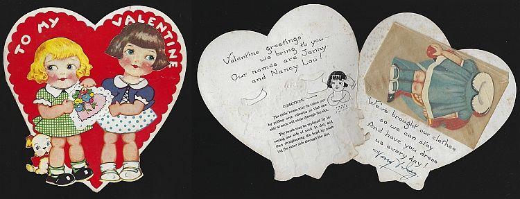 VINTAGE VALENTINE WITH PAPER DOLLS, Valentine