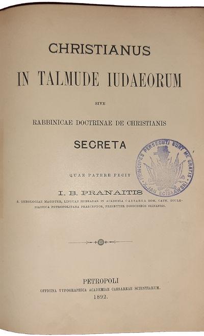 CHRISTIANUS IN TALMUDE IUDAEORUM