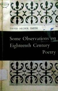 Some Observations on Eighteenth Century Poetry