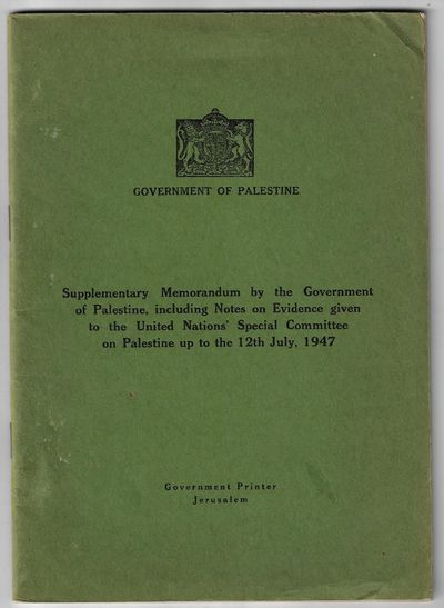 Jerusalem: Government Printer, 1947. First Edition. Softcover. Very good. 59 pp, stapled wrappers. L...