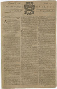 Benjamin Franklin's Newspaper Reports Virginia's Call to Arms at the Outset of the French and Indian War