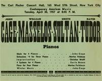 image of Contemporary American Music (Original flyer for a 1957 performance by John Cage and others)