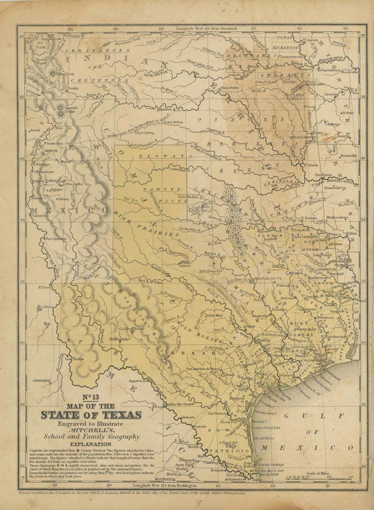 Mexico Map 1850.Map Of The State Of Texas Engraved To Illustrate Mitchell S School