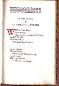 image of THE HARMONY OF BIRDS. A Poem Printed By John Wight In The Middle Of The Sixteenth Century And Now Reprinted By James E.Masters