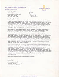 TYPED LETTER TO THE WIDOW OF PLAYWRIGHT ROBERT E. SHERWOOD SIGNED BY JARED A. BROWN, THE AMERICAN BIOGRAPHER OF ALFRED LUNT AND LYNN FONTANNE.