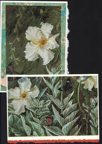 Puzzle card (3 piece) of Flannel Flowers (Brazil), two on a one-of-a-kind hand marbled papers presented on blank note cards.