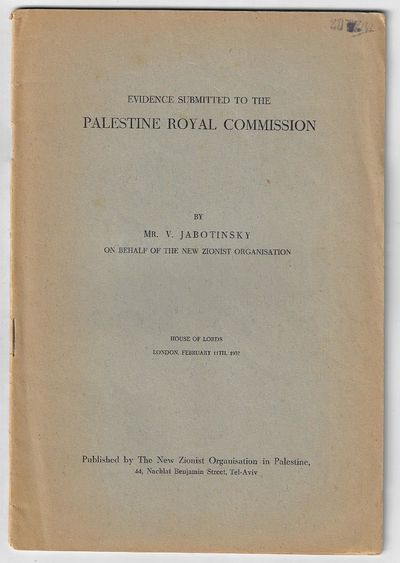 Tel Aviv: New Zionist Organisation in Palestine, 1937. First Edition. Softcover. Very good. 29 pp, s...