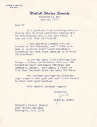 TYPED LETTER SIGNED BY LONG TIME UNITED STATES SENATOR FROM NEW YORK JACOB K. JAVITS.