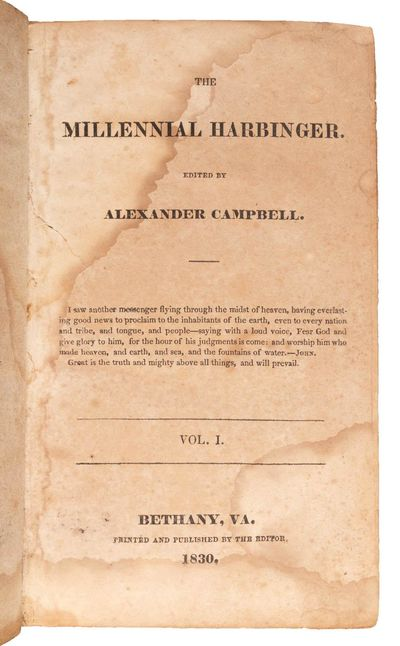 Bethany, Virginia: Printed and Published by the Editor, 1831. First Edition. 2 volumes, 8vo (202 x 1...
