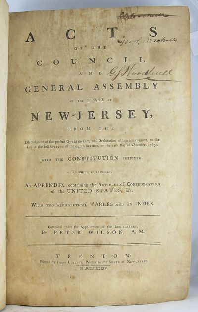 1784. NEW JERSEY. LAWS. Acts of the Council and General Assembly of the State of New-Jersey, from th...