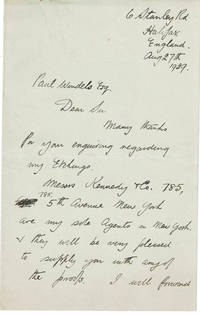 AUTOGRAPH LETTER TO PAUL WINDELS SIGNED BY HALIFAX ETCHER AND ILLUSTRATOR JACK HEWER ABOUT THE AVAILABILITY OF HIS ETCHINGS.