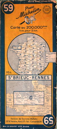 St. Brieuc - Rennes by Michelin - No. 59, 1:200,000 - 1952 - from Acanthophyllum Books and Biblio.com