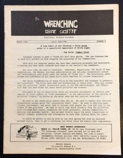 Somerville, MA: Richard Grossman, 1990. 12p., 8.5x11 inch environmentalist newsletter, address label...