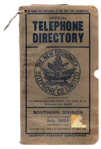 image of Official Telephone Directory, New Brunswick Telephone Co., Southern Division, July 1924